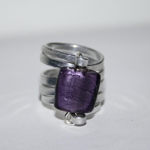 Vintage Jewelry   Large Silver And Purple Wire Ring 65   Poshmark